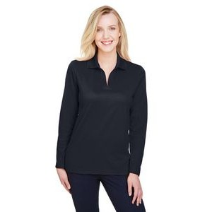 Devon and Jones CrownLux Performance? Ladies' Plaited Long Sleeve Polo