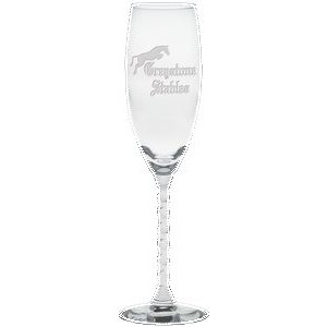 5.75 Oz. Clear Swirl Stem Flute Glass- Etched