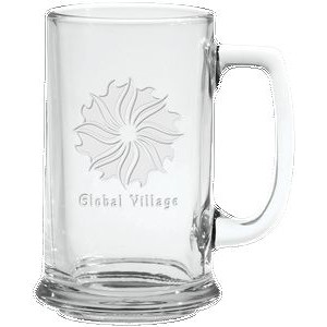 15 Oz. Glass Tankard Mug- Etched