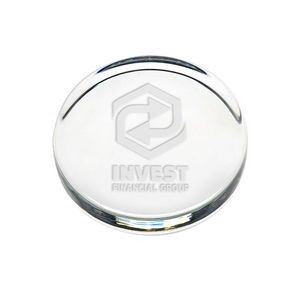 Flat Round Paperweight - Etched