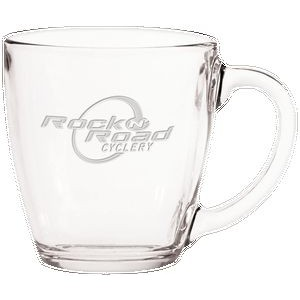 16 Oz. Glass Bistro Coffee Mug - Etched