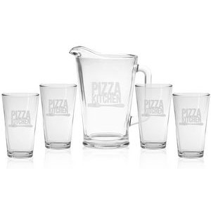 Glass Pitcher & Pint Glass Set - Etched