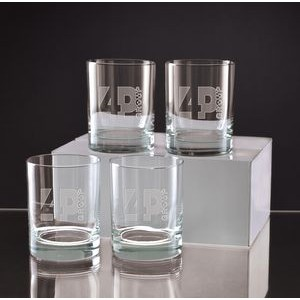 14 Oz. Deep Etched Executive Double Old Fashion Gift Set of 4