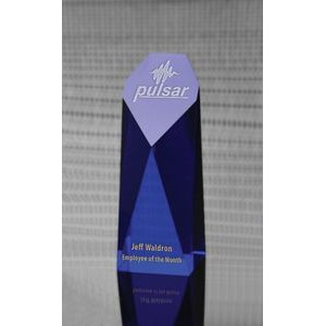 Large Cobalt Blue Monument Optical Crystal Award