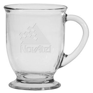 16 Oz. Café America Glass Mug - Etched